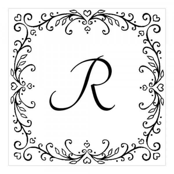 Tampon monogramme carré - Guirlandes de cœurs