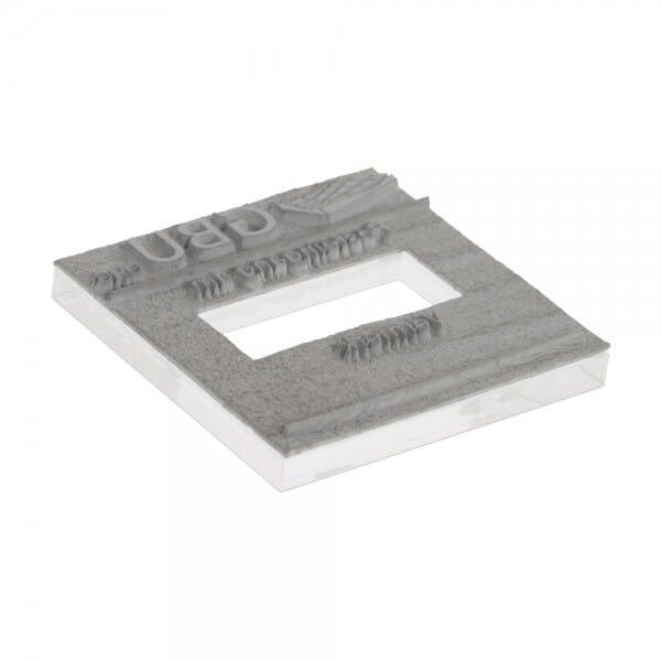 Plaque de texte personnalisée pour Trodat Printy dateur carré 4724 - 40x40 mm - 3 + 3 lignes