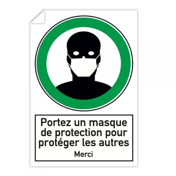 Autocollant d'instruction de sécurité (x10) - Portez un masque de protection (300x200mm)