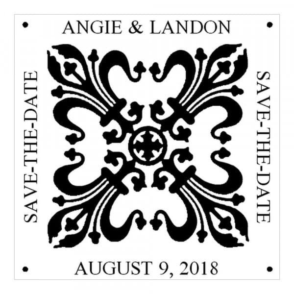 Tampon monogramme carré - Fleur de lys - réserve cette date
