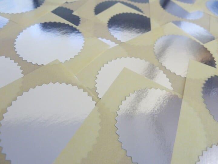 Etiquettes argentées pour pinces à sec - diam. 55 mm