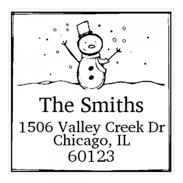 Tampon monogramme carré - Bonhomme de neige