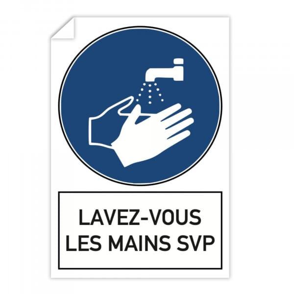 Autocollant d'avertissement (x10) - Lavez-vous les mains svp (300x200mm)