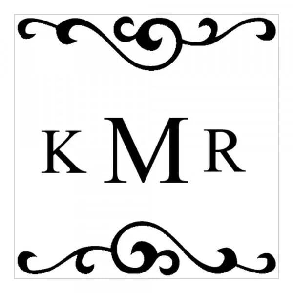 Tampon monogramme carré - initiales avec arabesques design